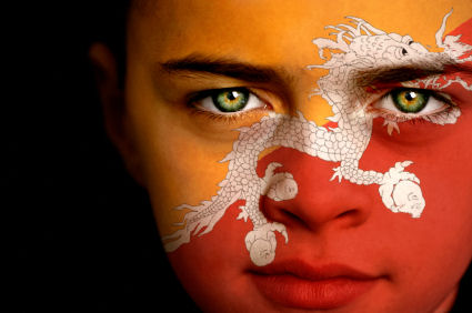 Bhutan flag on boys face